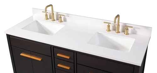 "60"" Modern Style Double Sink Bathroom Vanity with Quartz ..."