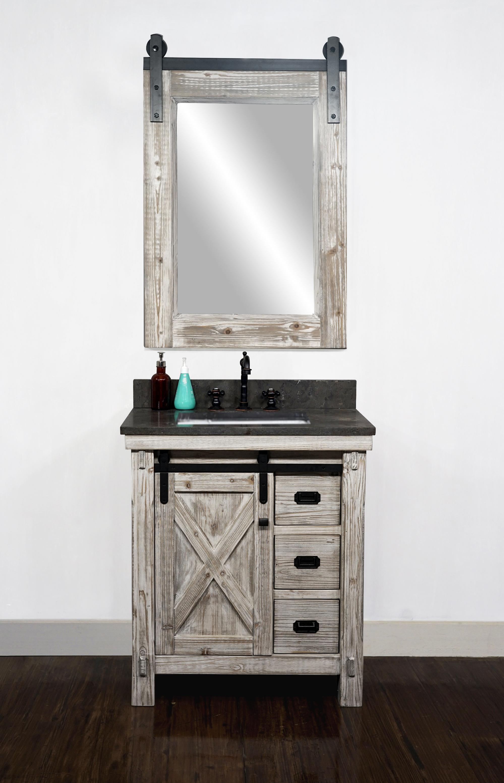 "30"" Rustic Solid Fir Barn Door Style Single Sink Vanity in ..."