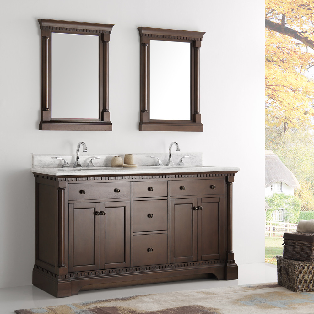 traditional bathroom cabinets fresca kingston collection 61 quot antique coffee 27277