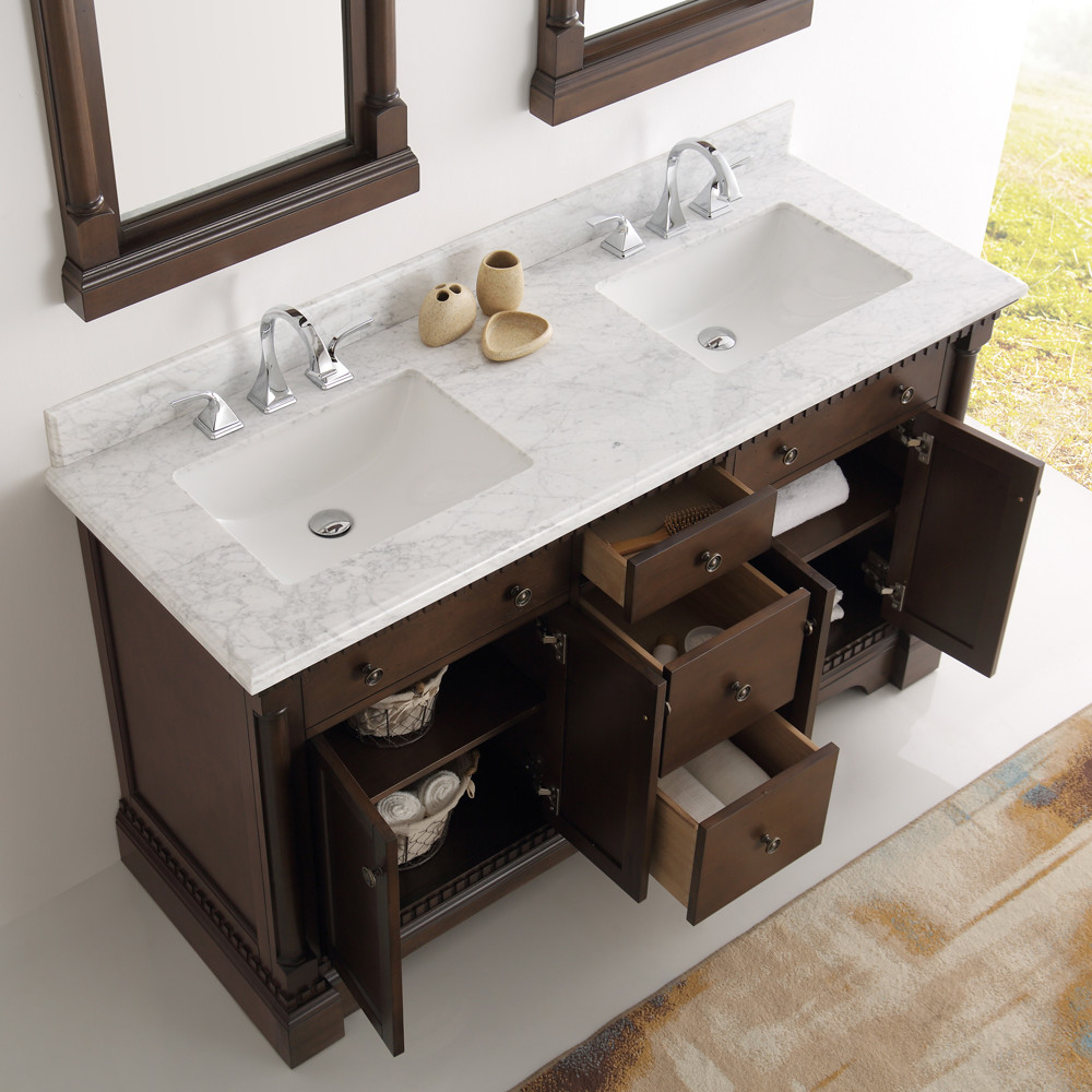 Fresca Kingston Collection 61 Antique Coffee Double Traditional Bathroom Vanity In Faucet Option