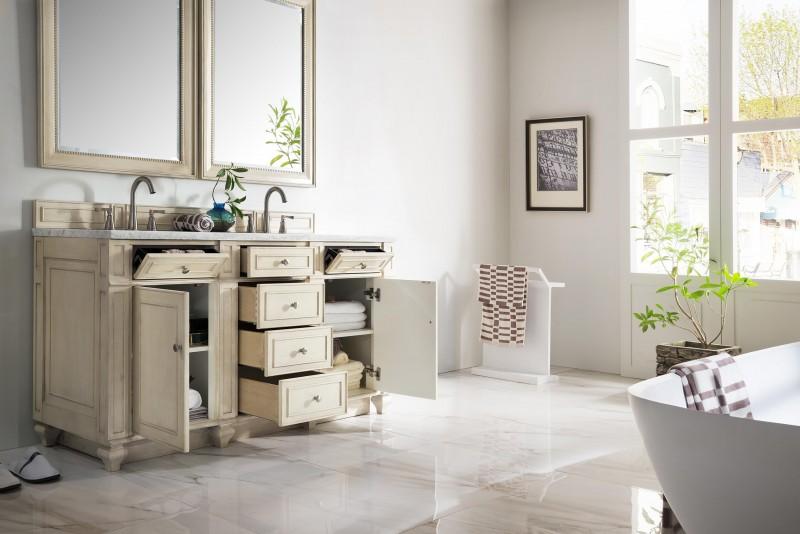 Vintage Double Bathroom Vanities 60 inch antique double sink bathroom vanity vintage vanilla finish
