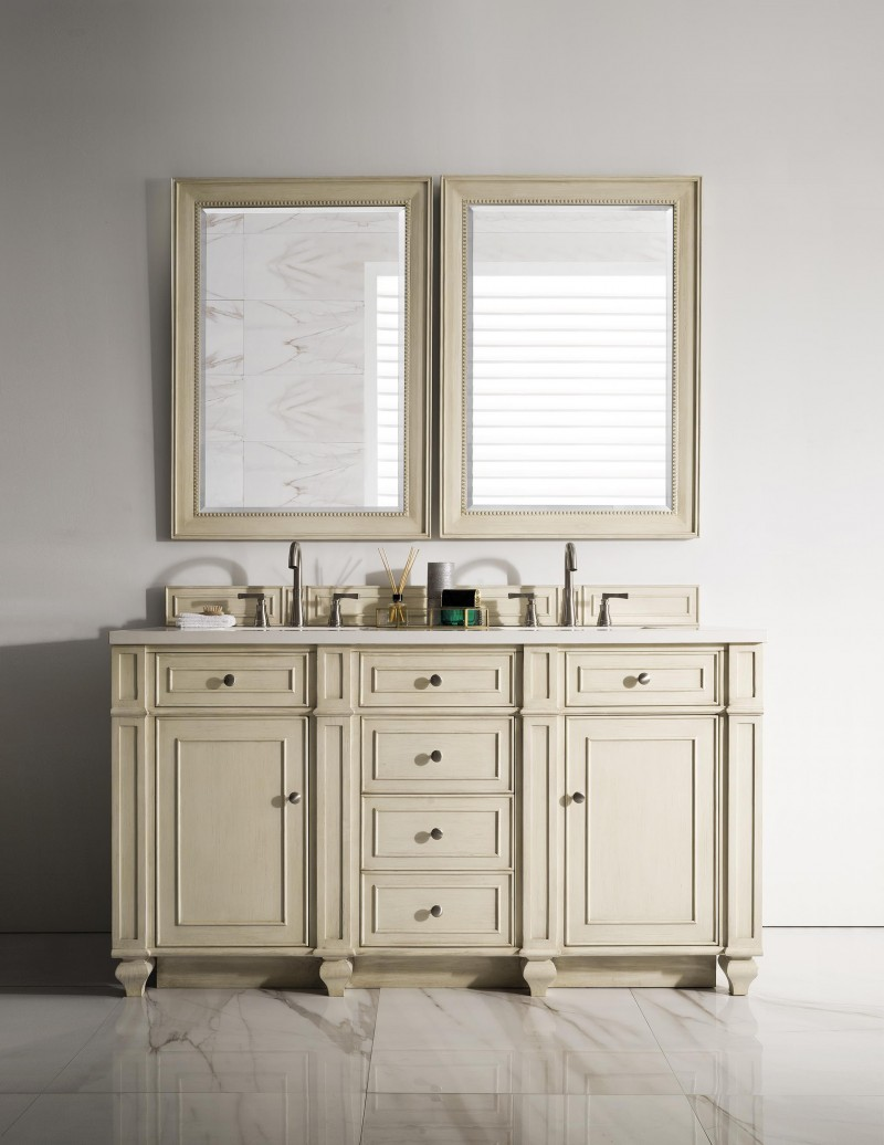 ... 60 Inch Double Sink Bathroom Vanity Vintage Vanilla Finish ...