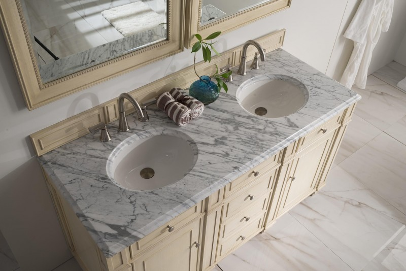 Merveilleux ... 60 Inch Antique Double Sink Bathroom Vanity Vanilla Finish ...