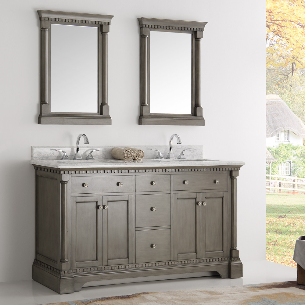 mirrored bathroom vanity cabinet fresca kingston collection 61 quot silver grey 19514