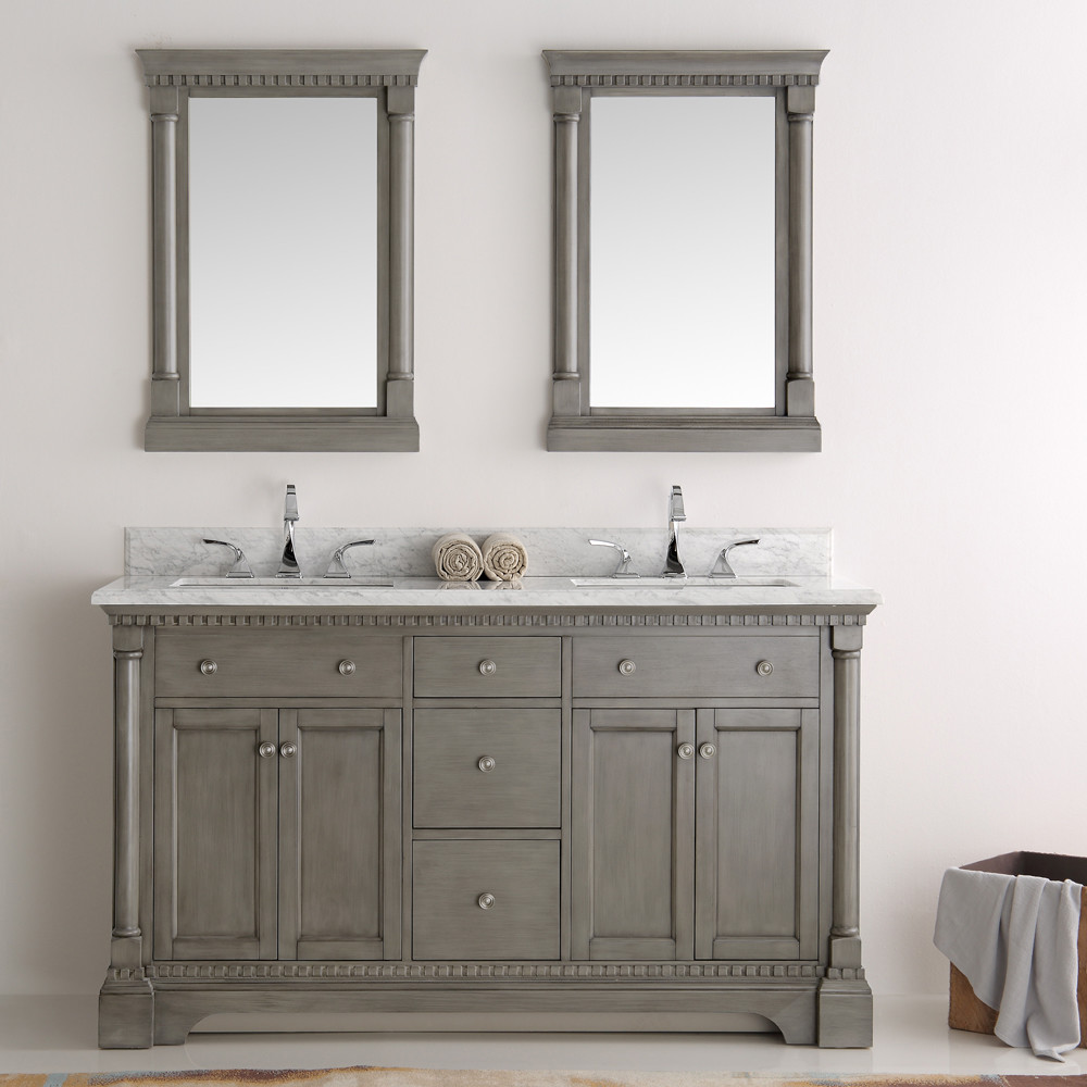 vintage bathroom mirror fresca kingston collection 61 quot silver grey 14961