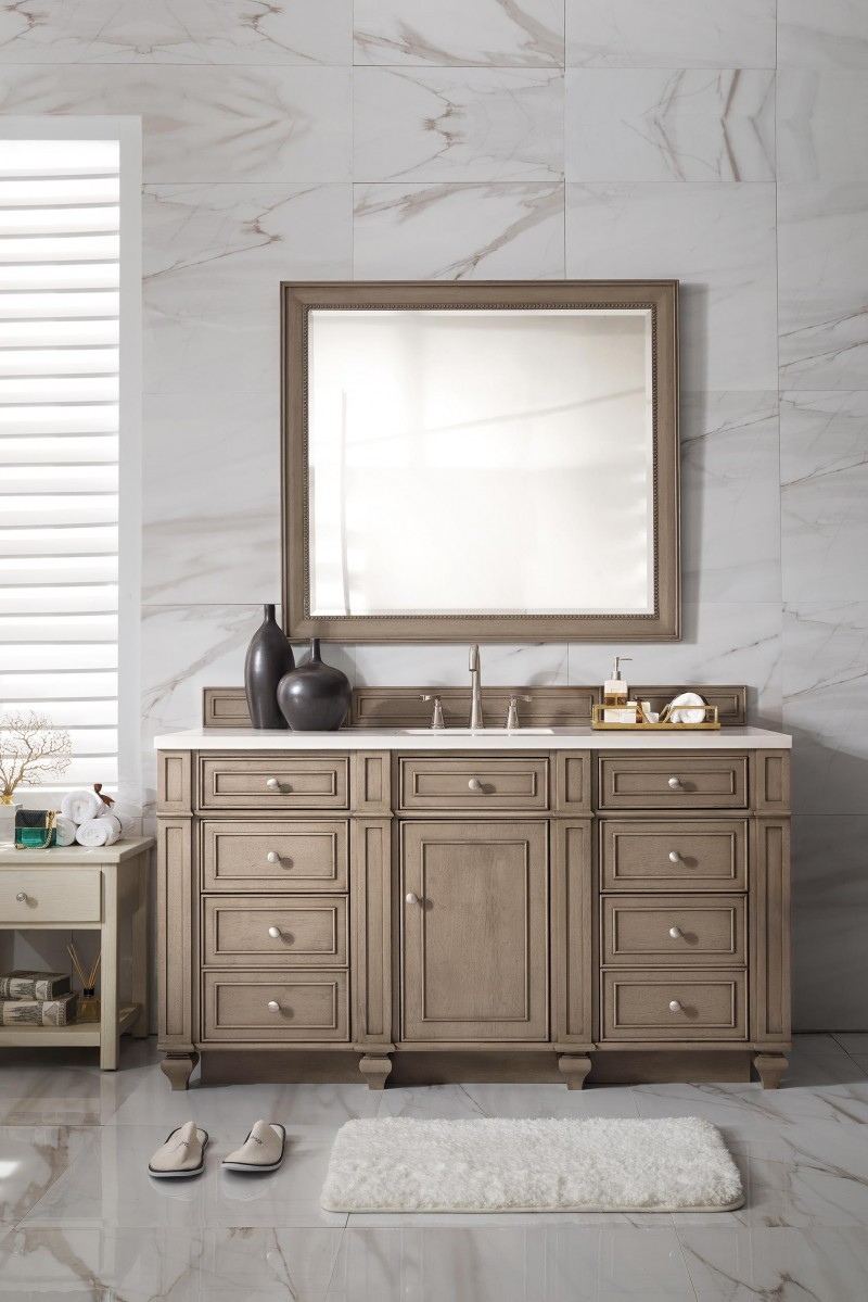 60 Inch Antique Single Sink Bathroom Vanity Whitewashed Walnut Finish