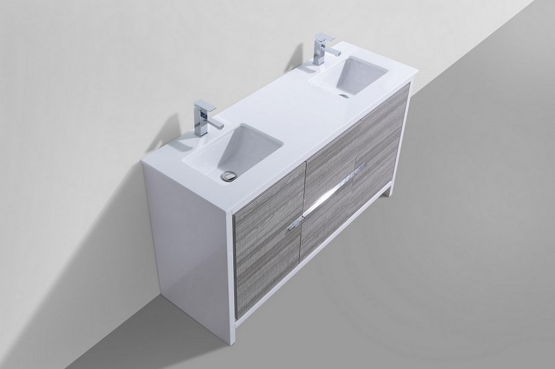 60 inch Ash Gray Modern Double Sink Bathroom Vanity with White