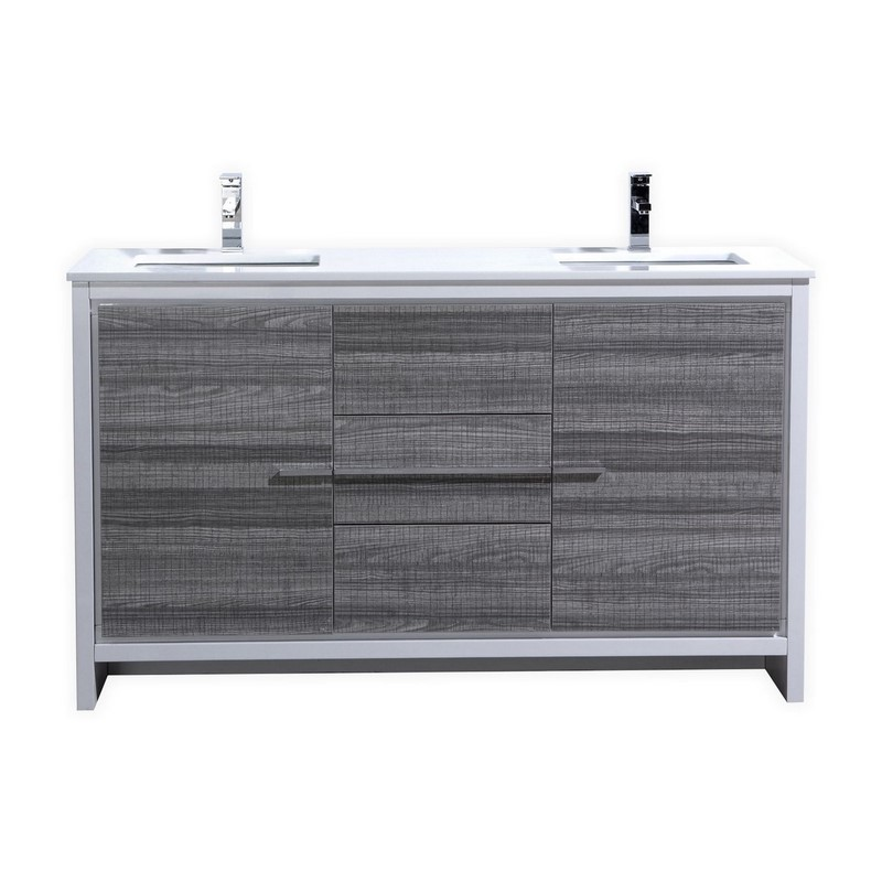 60 Inch Ash Gray Modern Double Sink Bathroom Vanity With White Quartz Countertop