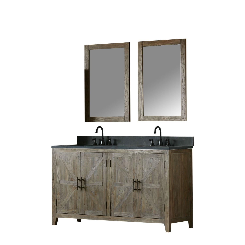 60 Inch Distressed Solid Elm Double Bathroom Vanity Moon Stone Countertop