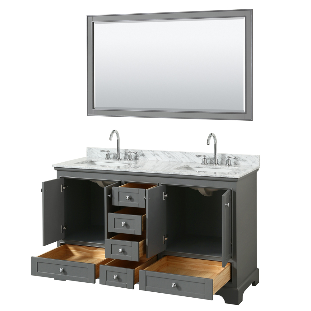 60 Inch Double Sink Transitional Grey Finish Bathroom