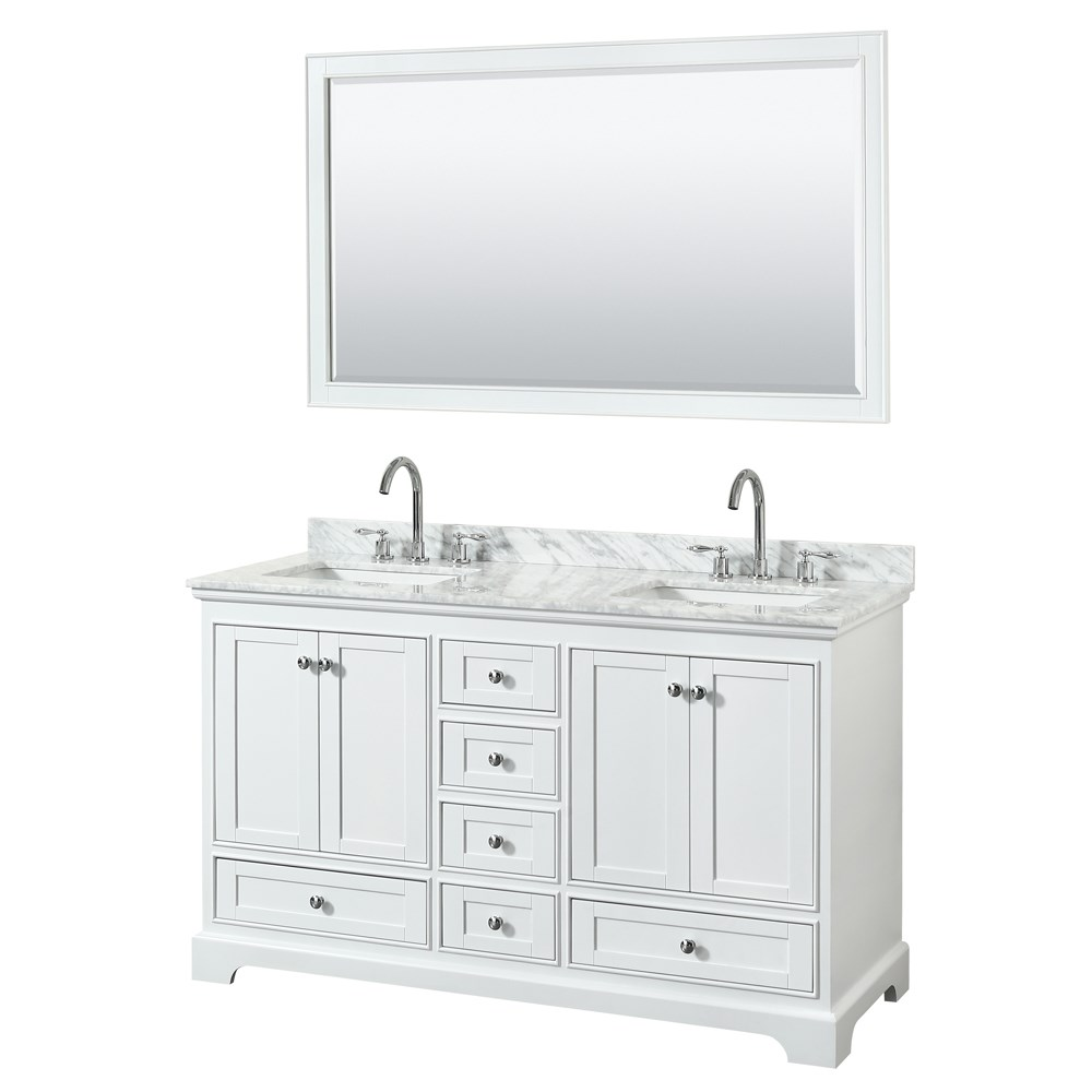 60 inch double sink transitional white finish bathroom vanity set Bathroom sink and vanity sets