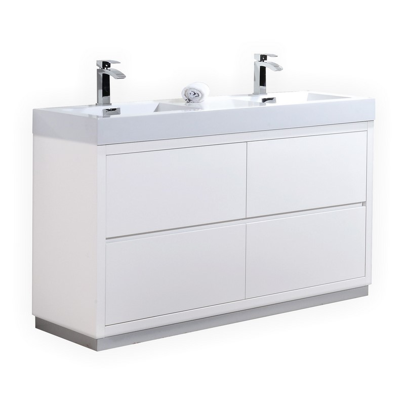 Modern Lux 60 Double Sink High Gloss White Free Standing Modern
