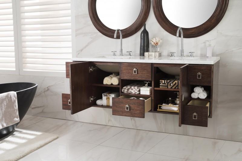 floating double sink vanity.  60 inch Floating Double Sink Bathroom Vanity Coffee Oak Finish
