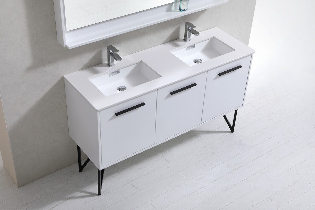 60 Inch High Gloss White Double Sink Bathroom Vanity With Quartz Countertop And Matching Mirror