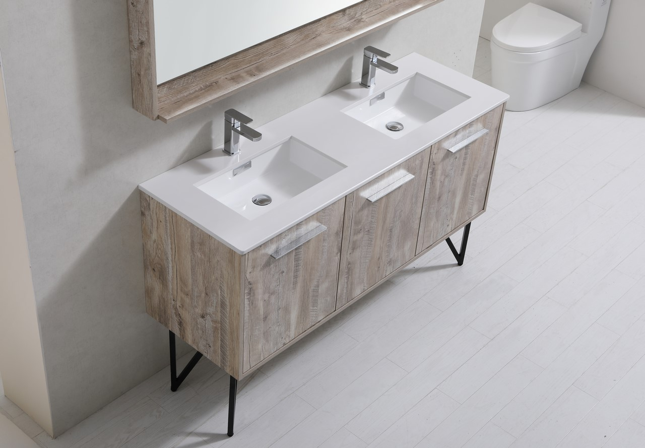 60 Inch Nature Wood Double Sink Bathroom Vanity With Quartz Countertop And Matching Mirror