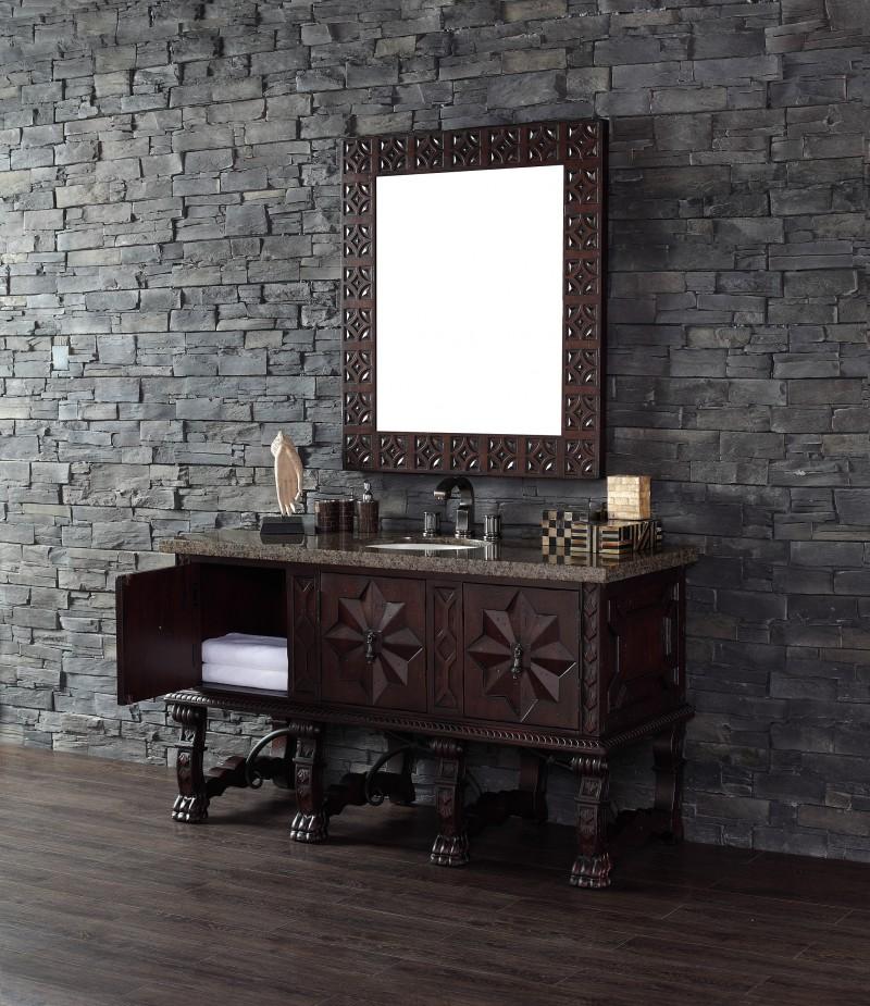 60 inch single bathroom vanity antique walnut finish birch with oak