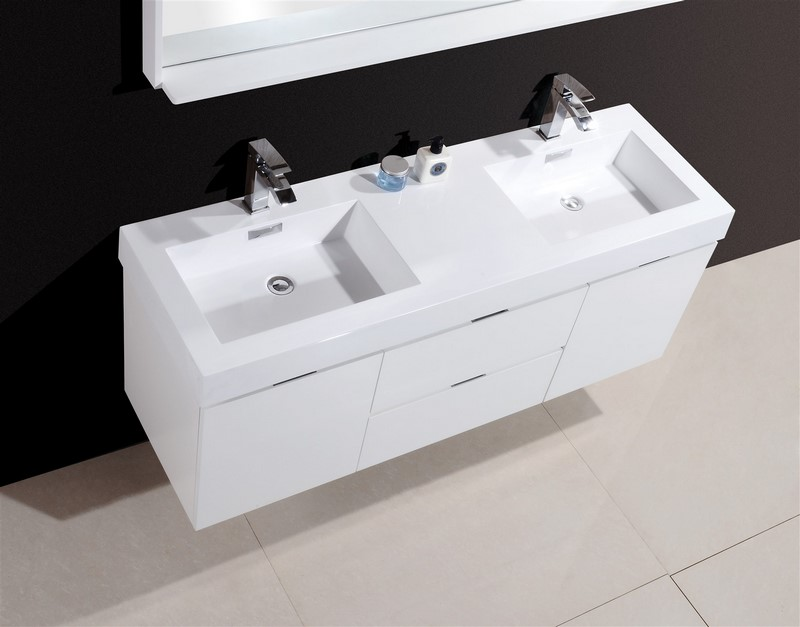 60 Inch Bathroom Vanity White 60 inch wall mount double sink modern bathroom vanity white finish
