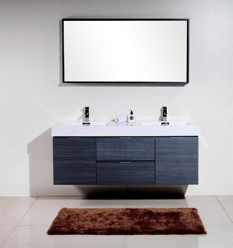 60 inch Wall Mount Double Sink Modern Bathroom Vanity Gray Oak Finish