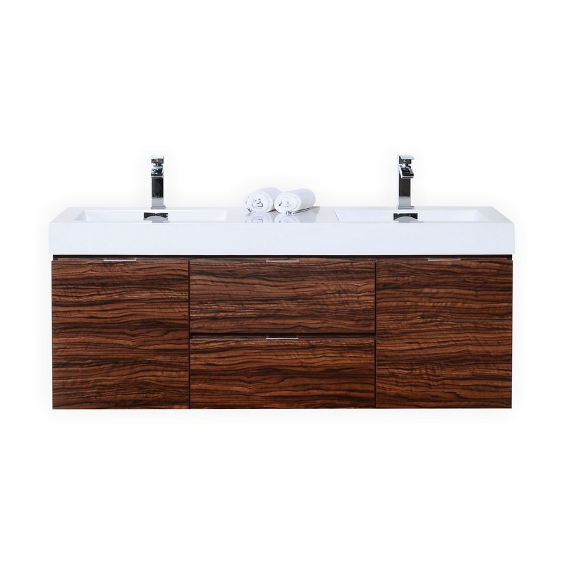 60 inch wall mount double sink modern bathroom vanity walnut finish - Contemporary european designer bathroom vanities ...