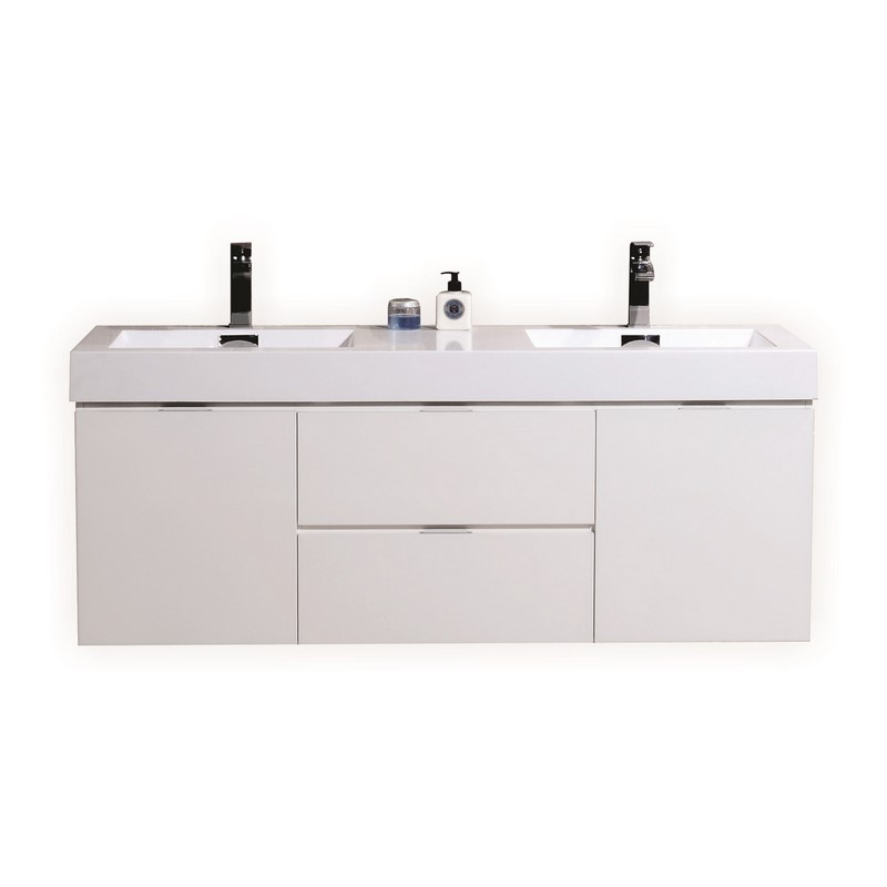 60 inch Wall Mount Double Sink Modern Bathroom Vanity White Finish