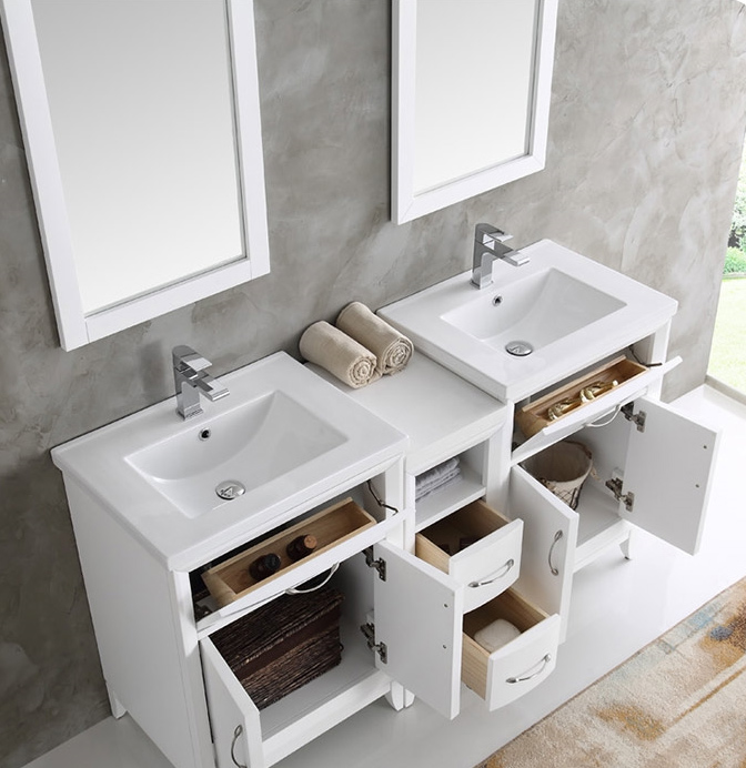 60 Inch Bathroom Vanity Mirror cambridge 60 inch white finish double sink traditional bathroom