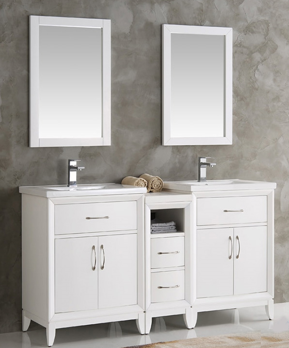 60 Inch Bathroom Vanity Double Sink cambridge 60 inch white finish double sink traditional bathroom