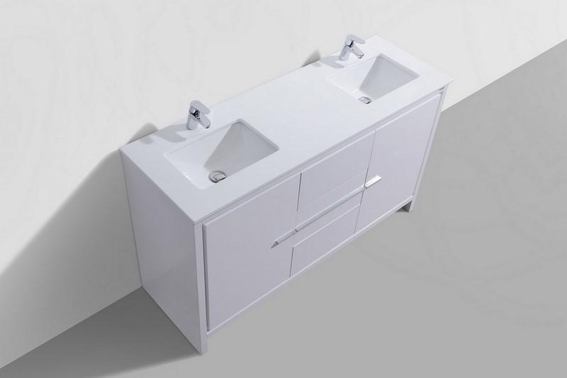 Bathroom Vanities Quartz Countertops 60 inch white modern double sink bathroom vanity with white quartz