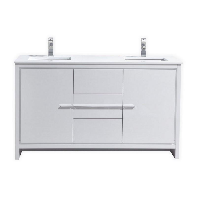 60 inch white modern double sink bathroom vanity with white quartz countertop