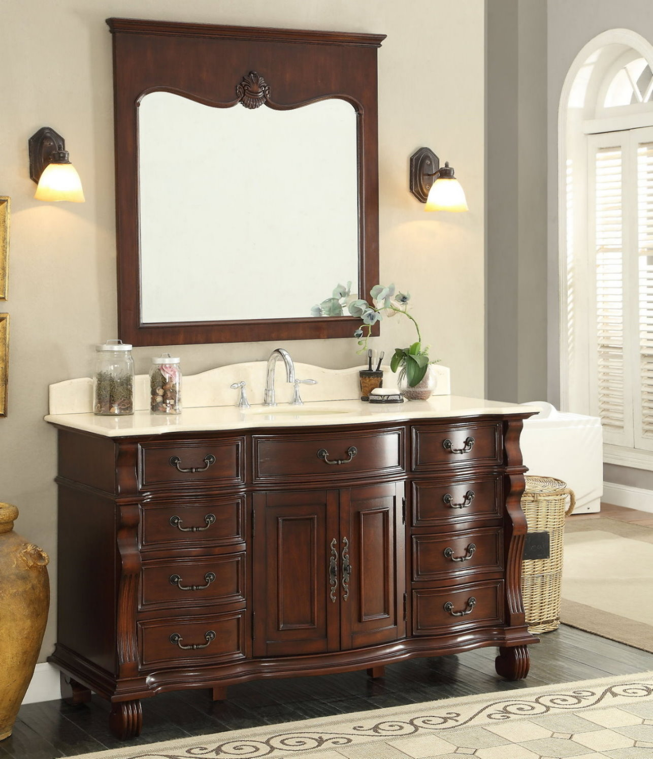 Adelina 60 Inch Antique Style Bathroom Vanity With 3 Top Options
