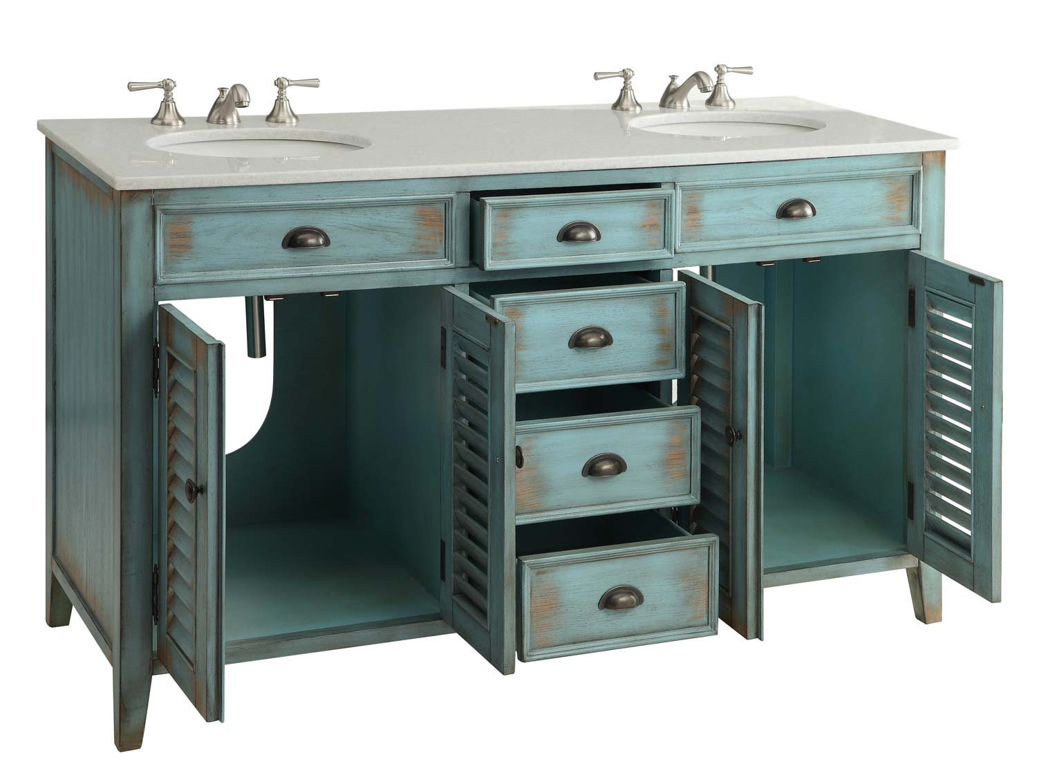 adelina 60 inch antique double sink bathroom vanity marble counter