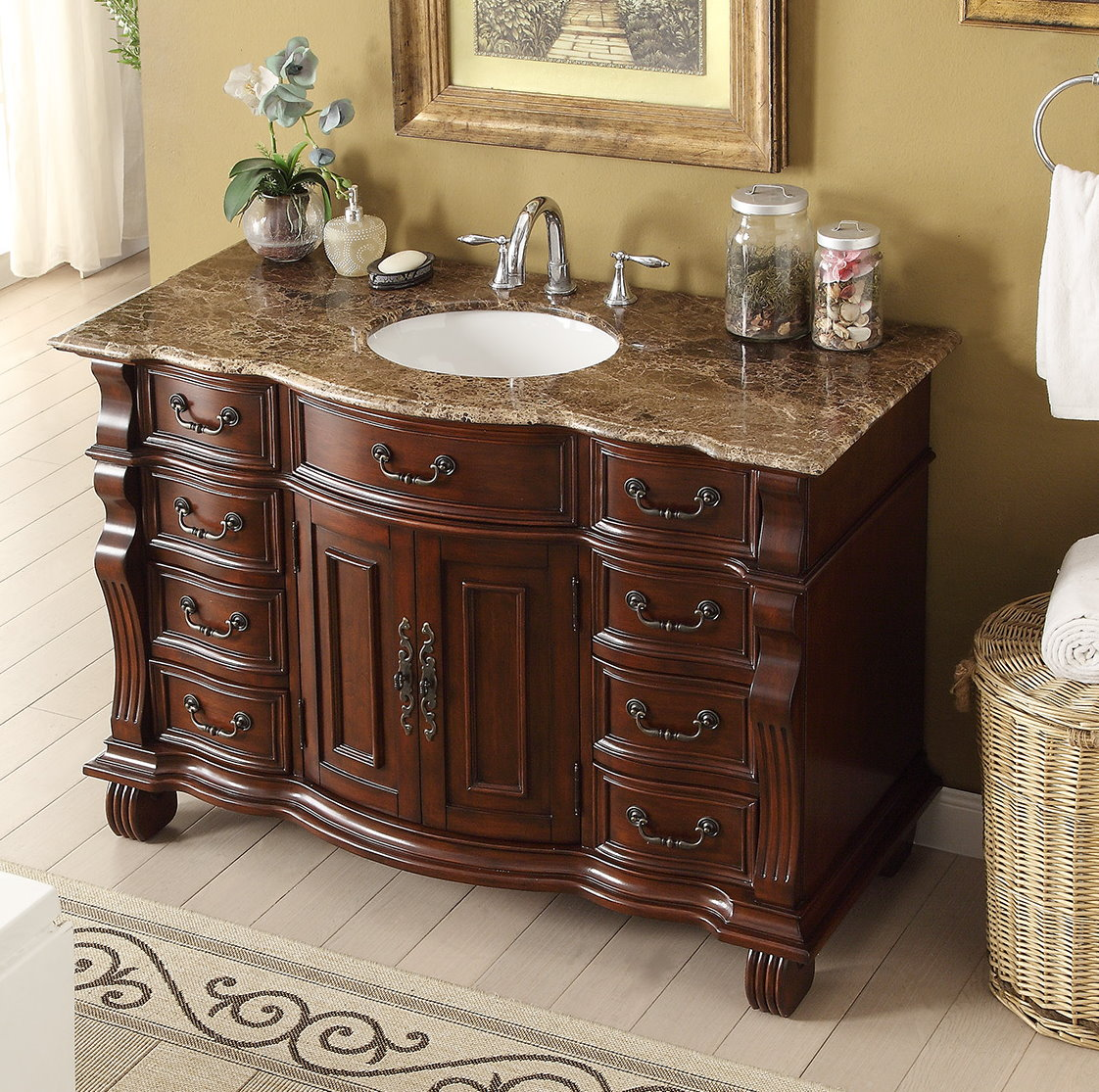 - Adelina 60 Inch Antique Style Bathroom Vanity Brown Marble Countertop