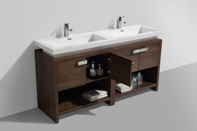 63 Inch Rose Wood Modern Bathroom Vanity With Integrated