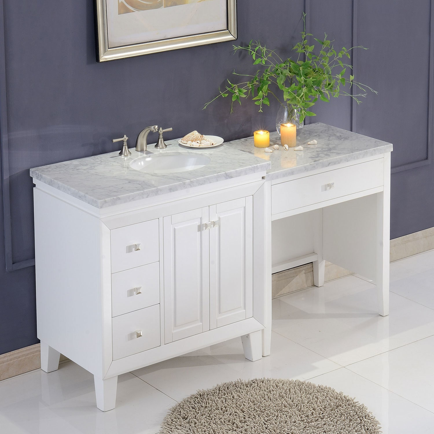 67 Inch Transitional Bathroom Vanity White Finish Marble Top Single Sink Cabinet