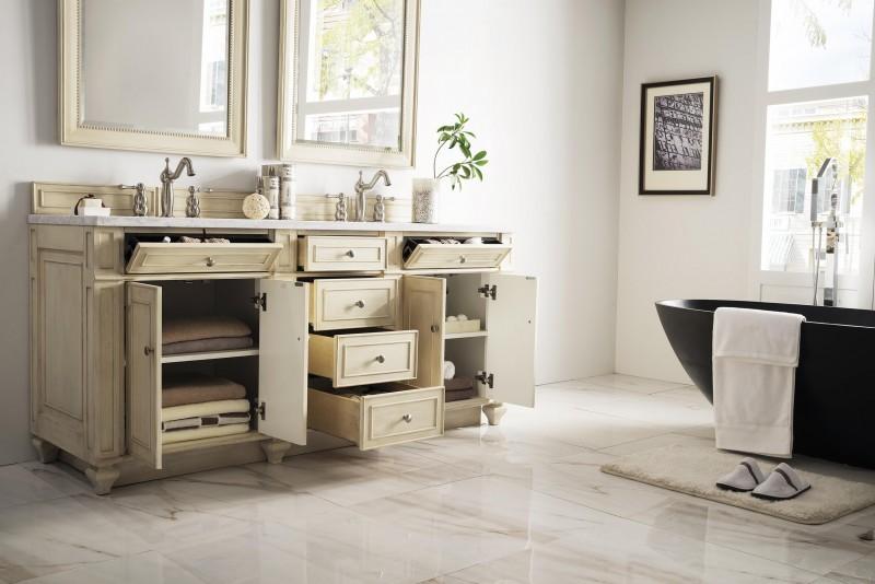 Vintage Double Bathroom Vanities 72 inch antique double sink bathroom vanity vintage vanilla finish