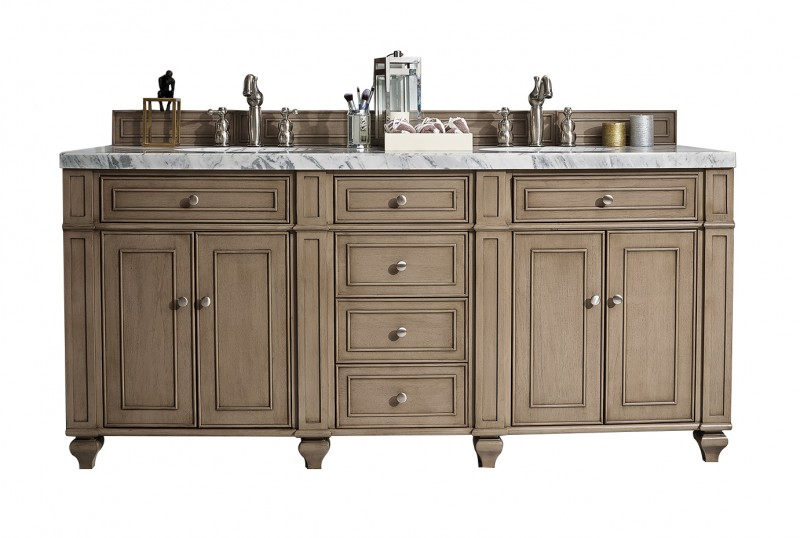 72 Inch Traditional Double Sink Bathroom Vanity Whitewashed Walnut Finish