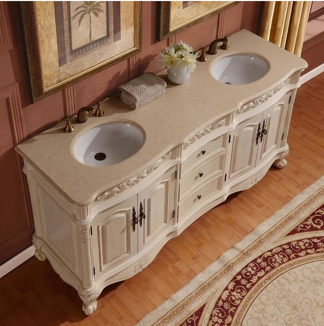 Silkroad 33 Inch Antique White Double Sink Bathroom Vanity Cream Marfil Marble Counter Top