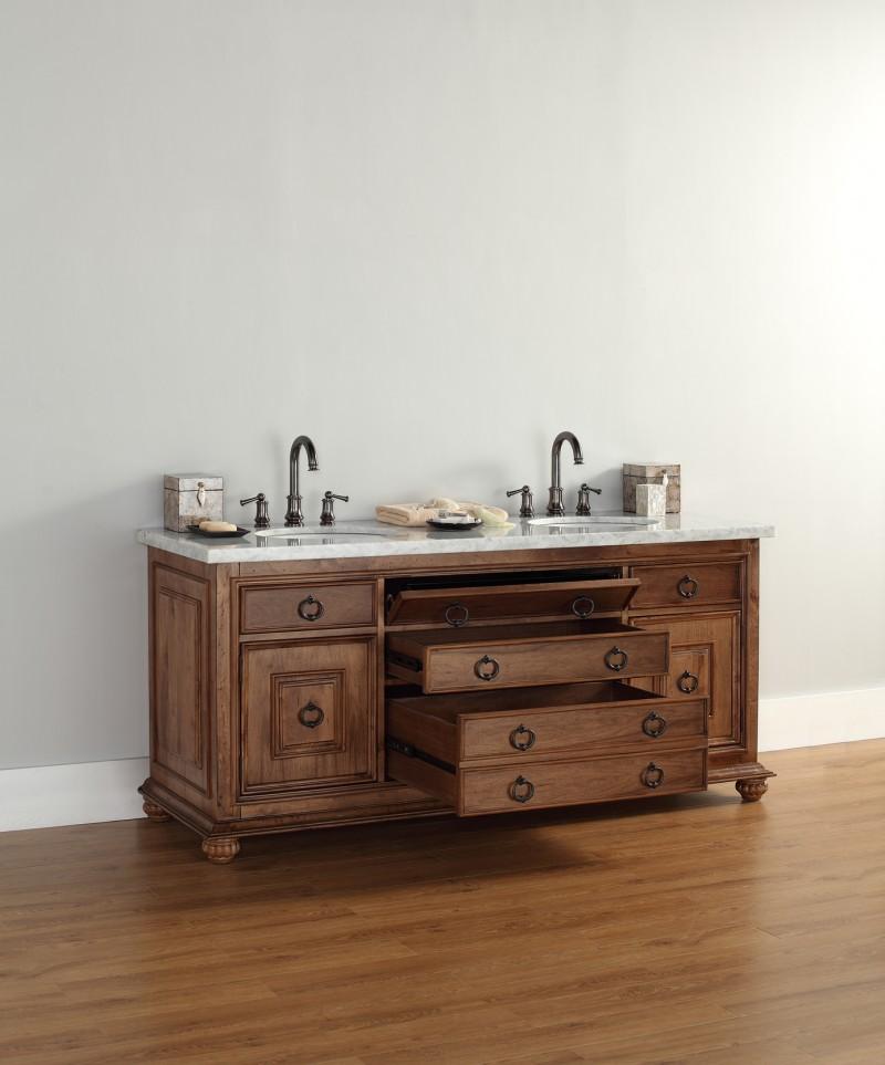 72 Inch Double Sink Bathroom Vanity Cinnamon Finish Optional Countertop 72  Inch Double Sink Vanity Cinnamon Finish Optional Countertop ...