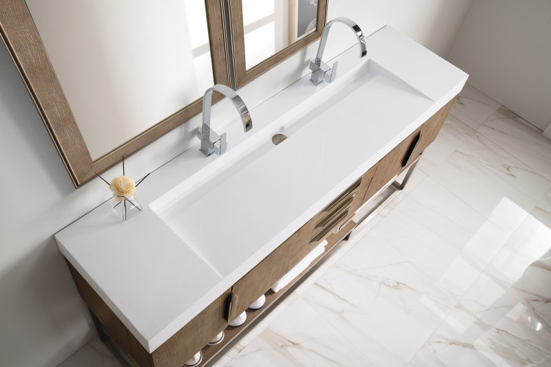James Martin Columbia Collection 72 Double Vanity With Stand Latte Oak Married Top
