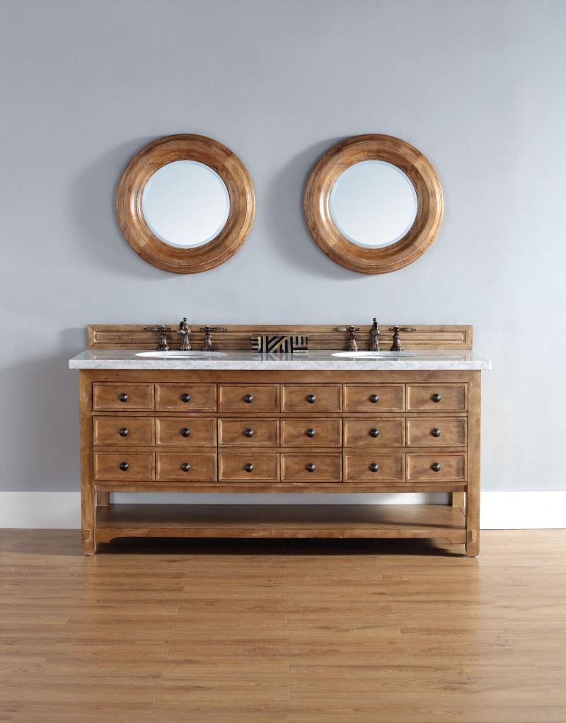 ... 72 Inch Double Sink Vanity Solid Wood Honey Alder Finish ...