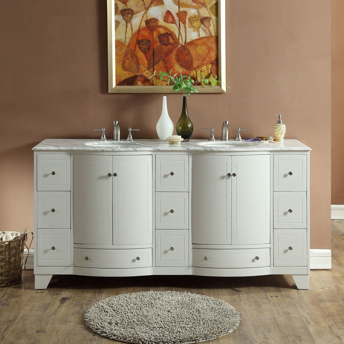 72 Inch Double Sink Contemporary Bathroom Vanity In White Finish Marble Top