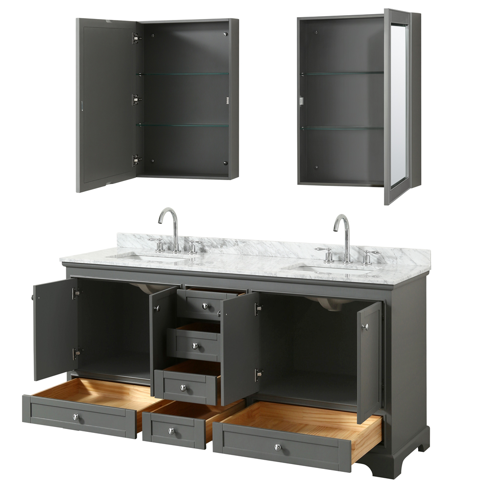 72 Inch Double Sink Transitional Grey Finish Bathroom Vanity Set