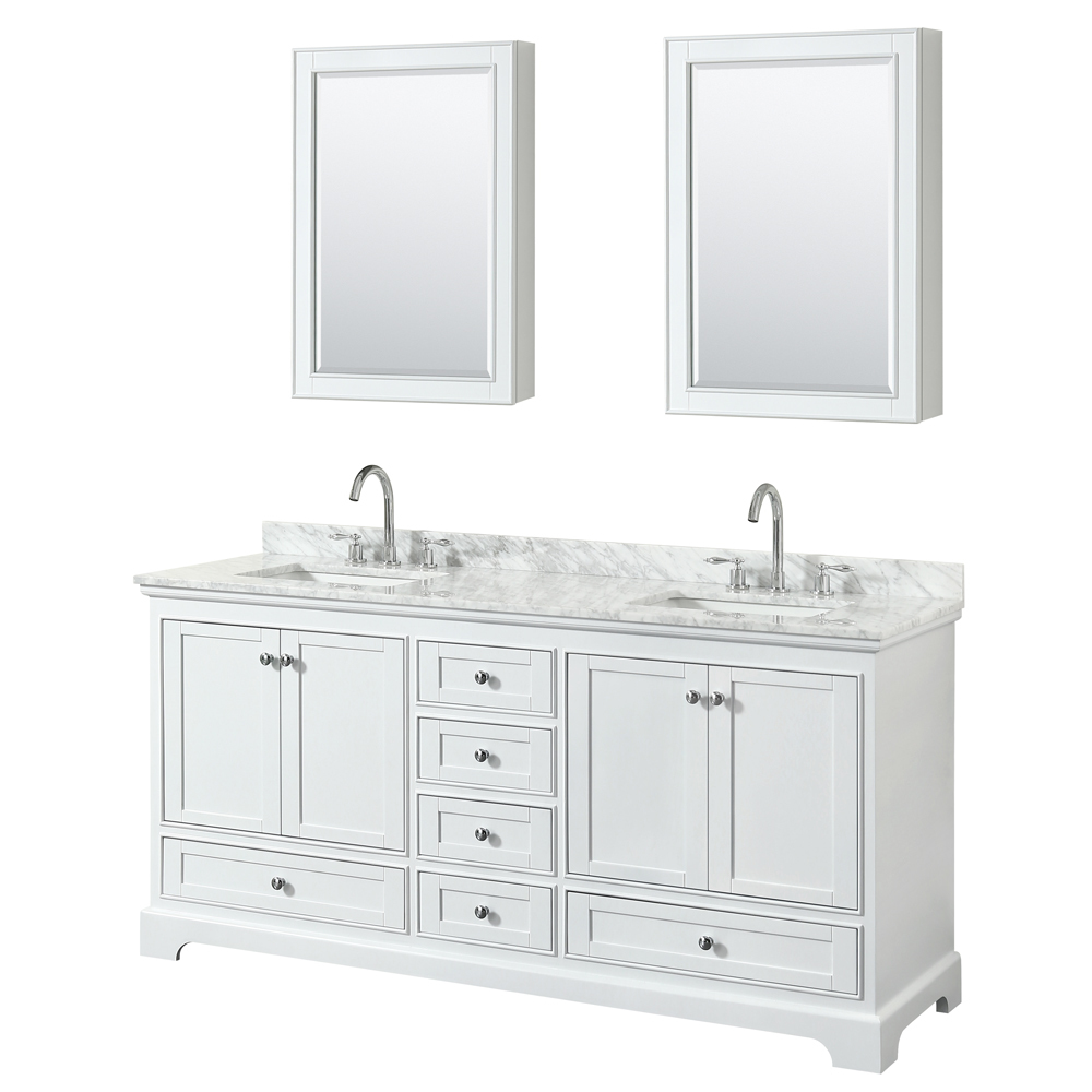 72 Inch Double Sink Transitional White Finish Bathroom