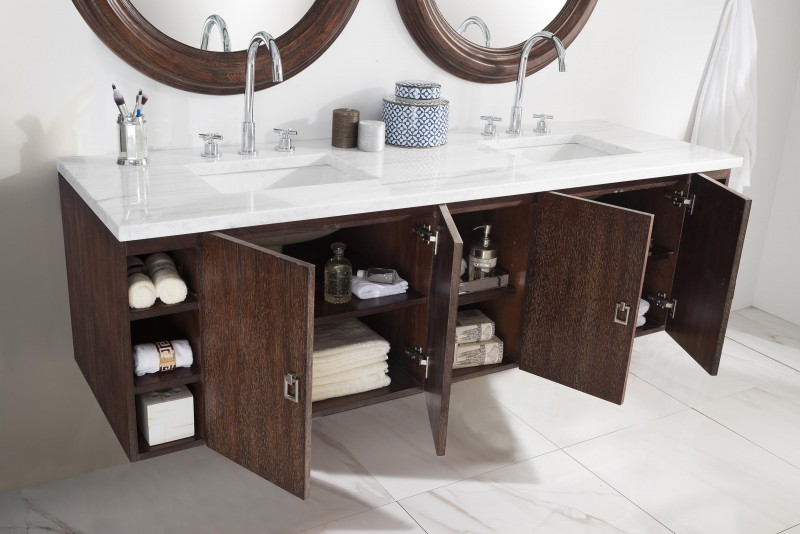 Bathroom Vanity 72 Inch Floating Double Sink Coffee Oak Finish