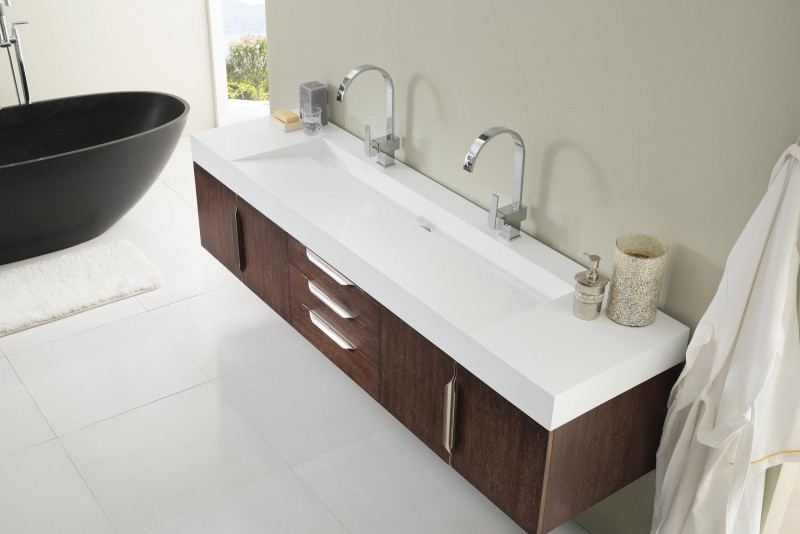 James Martin Mercer Island Collection Double Vanity Coffee Oak - 72 floating bathroom vanity