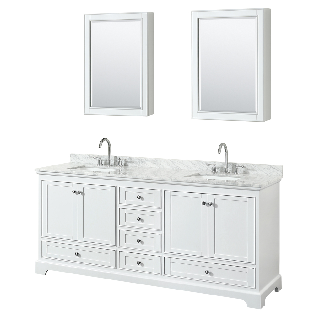 80 inch double sink transitional white finish bathroom for Bath and vanity set