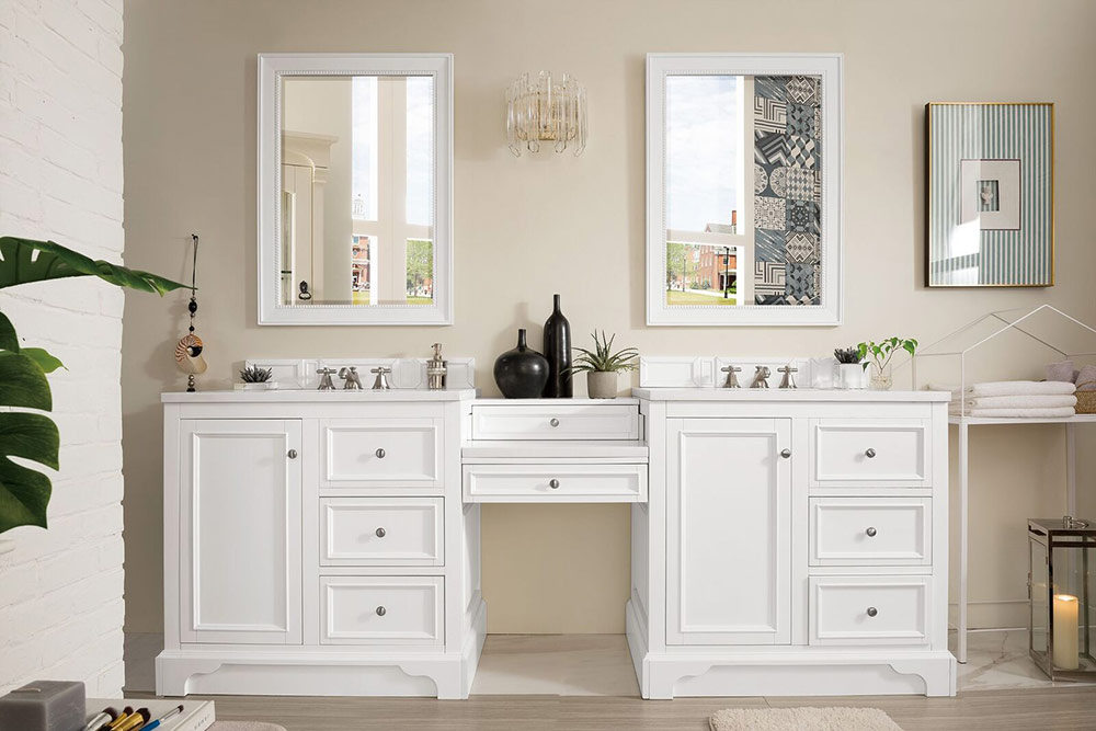 """Isaac Edwards Collection 94"""" Double Vanity Set, Bright White with Makeup Table, 3 CM Optional Top"""