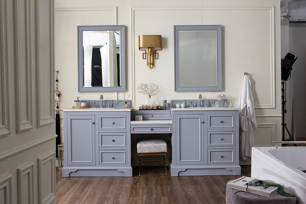 """Isaac Edwards Collection 94"""" Double Vanity Set, Silver Gray with Makeup Table, 3 CM Optional Top"""