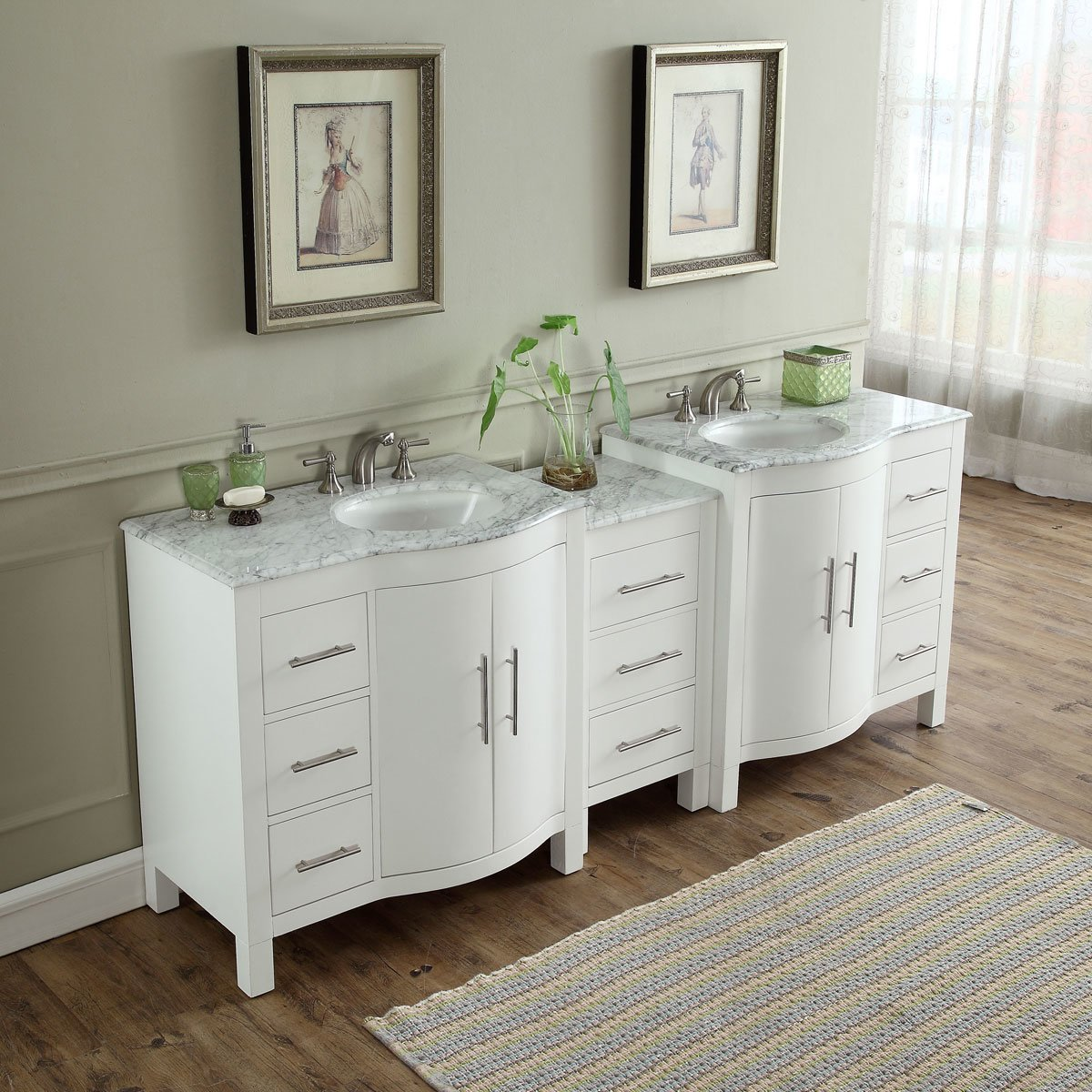 89 inch double sink contemporary bathroom vanity white finish carrara marble top Marble top bathroom vanities