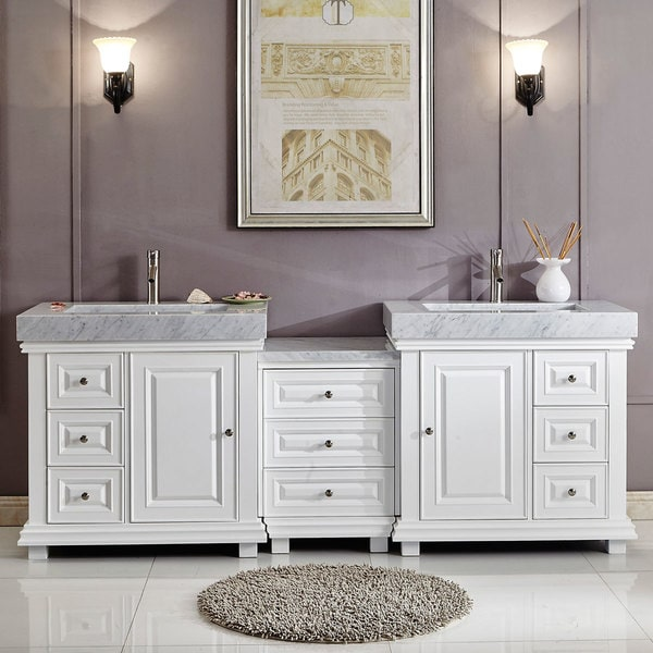 90 inch double sink cabinet bathroom vanity white finish for Bathroom cabinets 90