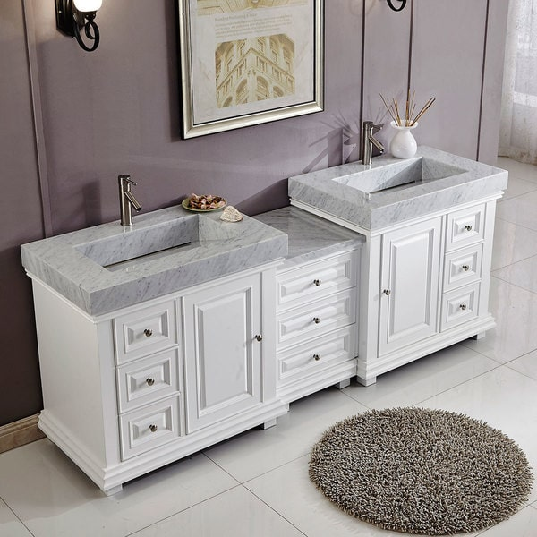 90 Inch Double Sink Cabinet Bathroom Vanity White Finish IntegratedMarble Sink